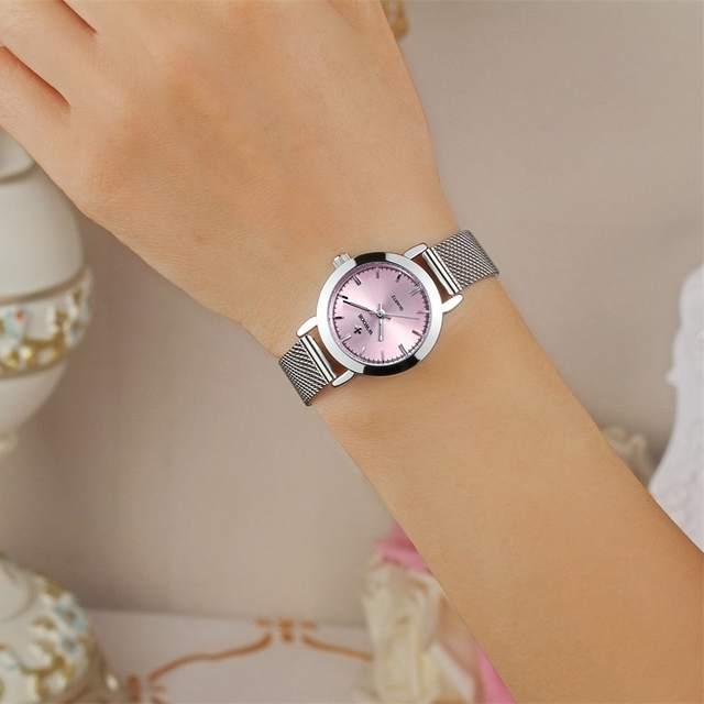 f54f7747926 Nova WWOOR Luxury Women Watch Marcas Famosas Rosa Dial Design de Moda  Pulseira Relógios Senhoras Mulheres