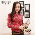 Veri gude primavera e outono mulheres blusa xadrez de manga longa camisa xadrez frete grátis slim fit work street style