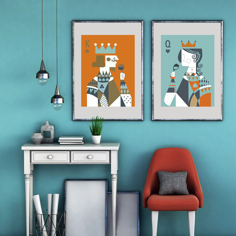 Poker King Queen Print Posters , Abstract Playing Cards Canvas Art Painting Vintage Home Wall Decoration