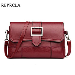 REPRCLA Brand Designer Women Shoulder Bag Fashion Handbag and Purse PU Leather Crossbody Bags for Women 2018 New Black&Red