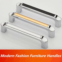 96mm Shiny Silver White Kichen Cabinet Handle Pull Chrome Dresser Cupboard Pull Black Wardrobe Drawer Furniture