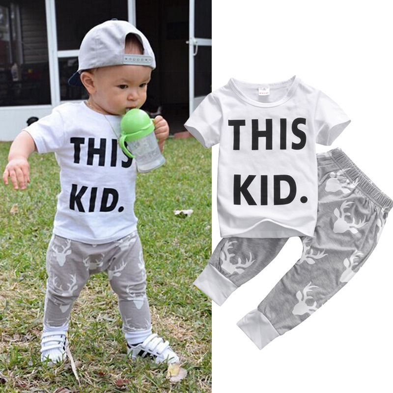 2eec9ddbf0 Toddler Kids Baby Boy Clothes Short Sleeve This Kid Letter Print T-shirt  Top Deer Pants 2PCS Outfits Bebes Clothing Set 0-5Y