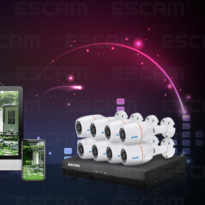 ESCAM PNK805 4MP 8CH PoE NVR KITS security system ESCAM PNK805 4MP 8CH PoE NVR KITS security system