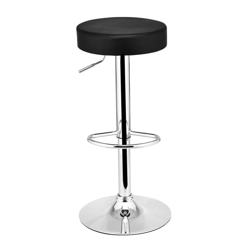 Adjustable Round Leather Swivel Seat Bar Stool Swivel 360 Degrees Durable Chromed Steel Construction Bar Chair Assembly HW56008