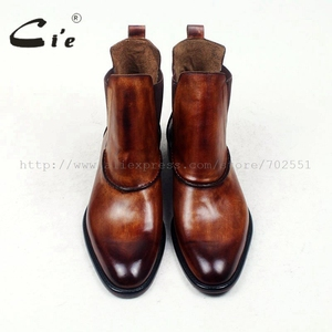 Image 3 - cie round plain toe100%genuine calf leather boot patina brown handmade outsole leather men boot casual mens ankle boot  A94