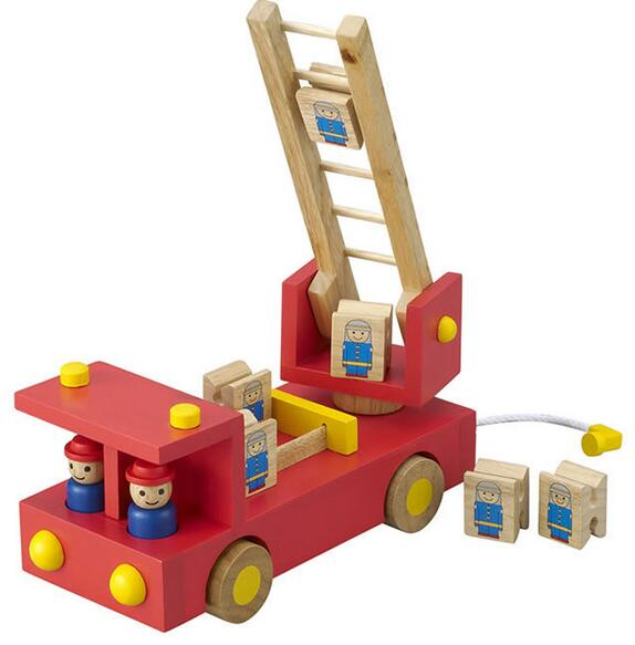 fire engine ladder truck with firemen playset kids children wooden model building kitschina