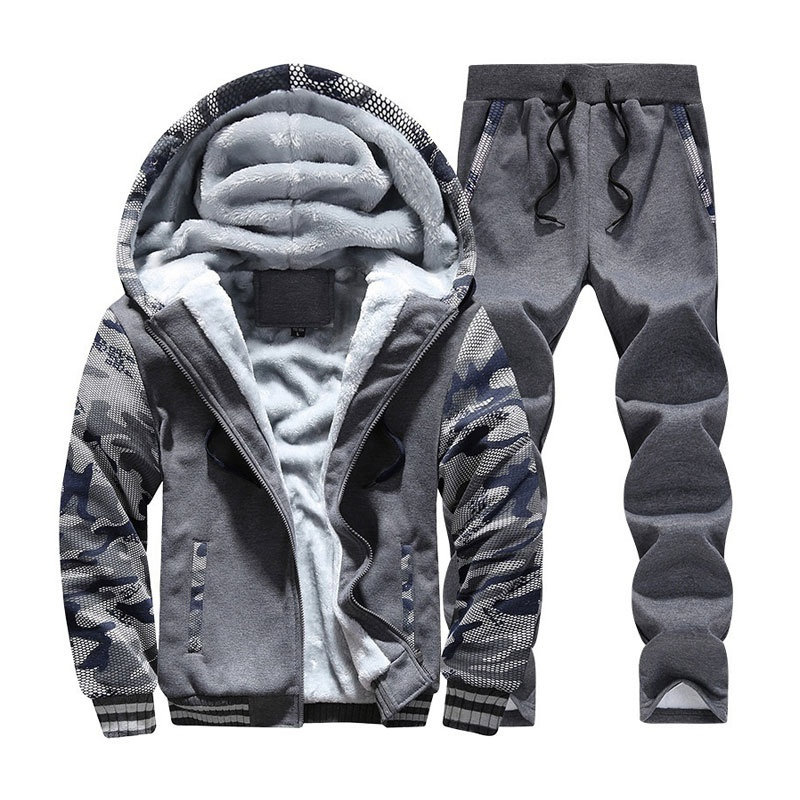 Winter Tracksuit Men Set Thick Fleece Sweatshirt Mens Sweat Track Suit Cotton Full Sportwear Warm Sports Suits Male Hoodie Set