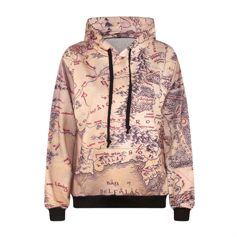 Fashion lord of the rings hoodie middle earth map punk women fashion casual men women the lord of ring world map printed hoodie women pullover tops suit gumiabroncs Image collections