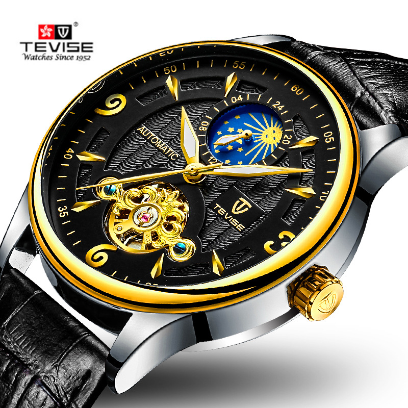 TEVISE Mens Watches Top Brand Luxury Tourbillon Mechanical Wristwatch Fashion Man Watch Automatic Waterproof Leather Clock 2018 tevise mens watches top brand luxury automatic watch man hollow gold wristwatch mens luminous water resistant mechanical watches