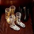 J ghee 2017 verano nuevas muchachas de la manera sandalias de estilo romano gladiador Zapatos Para Niños de Piel Brillante Con Las Estrellas Zapatos de Los Niños 26-35