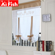 Kitchen short curtains embroidered roman blinds floral Lifting curtain grey sheer panel tulle window treatment for door A18 -40(China)
