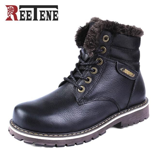 Gran Tamaño 38 ~ 50 Mantener Caliente Botas de Nieve Hombres 2016 Botas de Invierno Ruso Estilo Hombres del Cuero Genuino Zapatos de Invierno