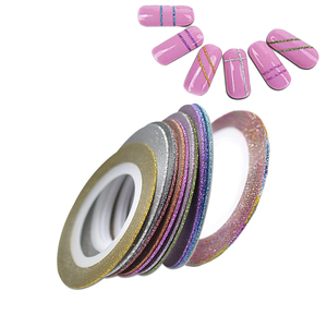 Image 3 - 12pcs/lot 1mm 12 Colors Glitter Nail Striping Tape Line For Nails DIY Decoration Nail Art Stickers Beauty Accessories BENC392