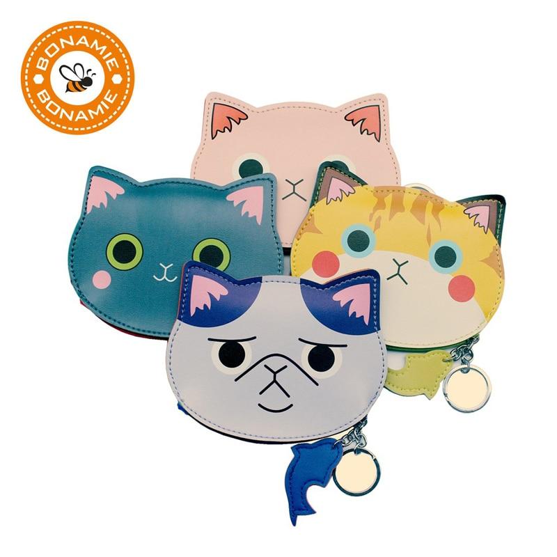 BONAMIE 100pcs Wholesale New Cute Cartoon Cat Girls Kids Coin Purse Wallet Storage Bag Personality 3D Small Cat Head Coin Bags