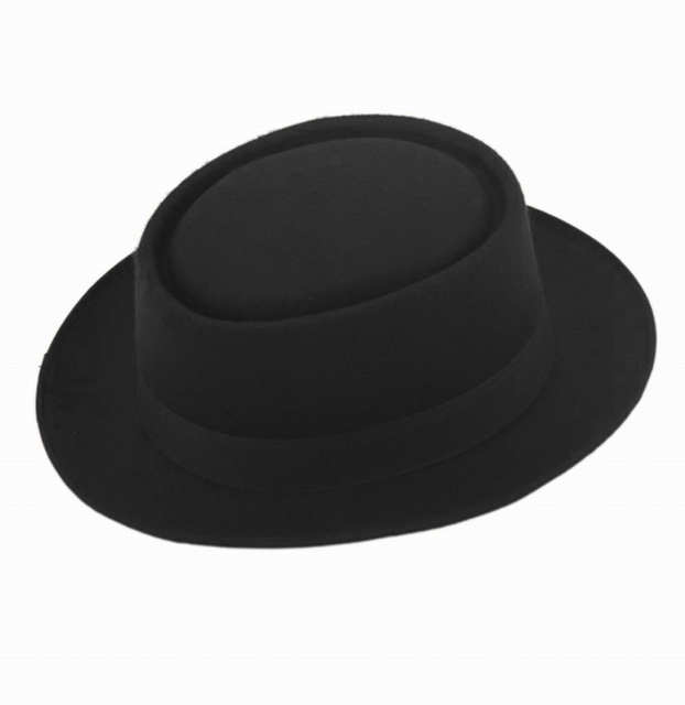 Fashion Unisex Wool Felt Pork Pie Men curled edg cap European American flat  caps circular top af7351b8620e
