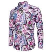2018 New Fashion Floral Print Slim Fit Shirts Men's Long Sleeve Casual Dress Shirts Hot Sale Size: M 5XL