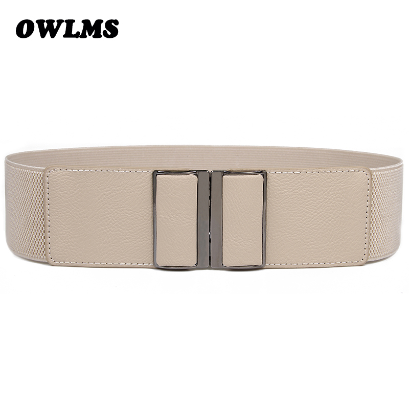 Women's Belts New Design Waistband Stretch Strap Wide Elastic Cummerbund HOT Rectangle Buckle Waist Belt Brand Dress Cummerbunds