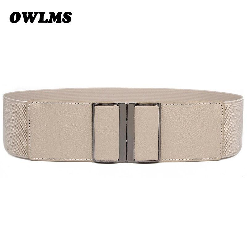 Women's Belts New Design Waistband Stretch Strap Wide Elastic Cummerbund HOT Rectangle Buckle Waist Belt Brand Dress Cummerbunds
