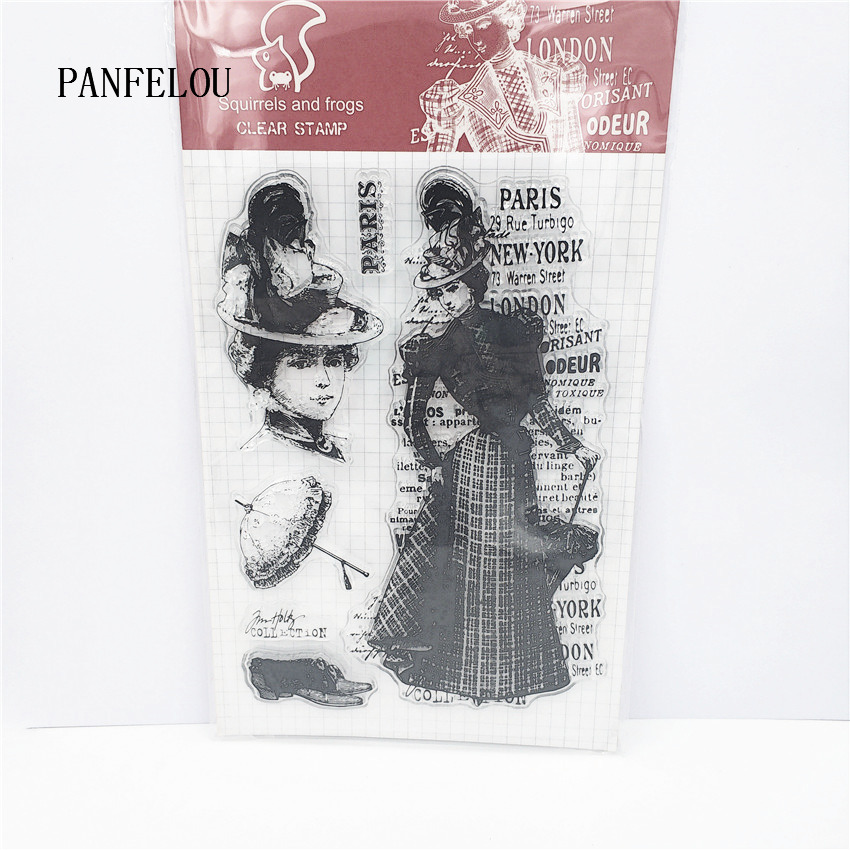 PANFELOU Ladies skirt Transparent Clear Silicone Stamp/Seal DIY scrapbooking/photo album Decorative clear stamp sheets