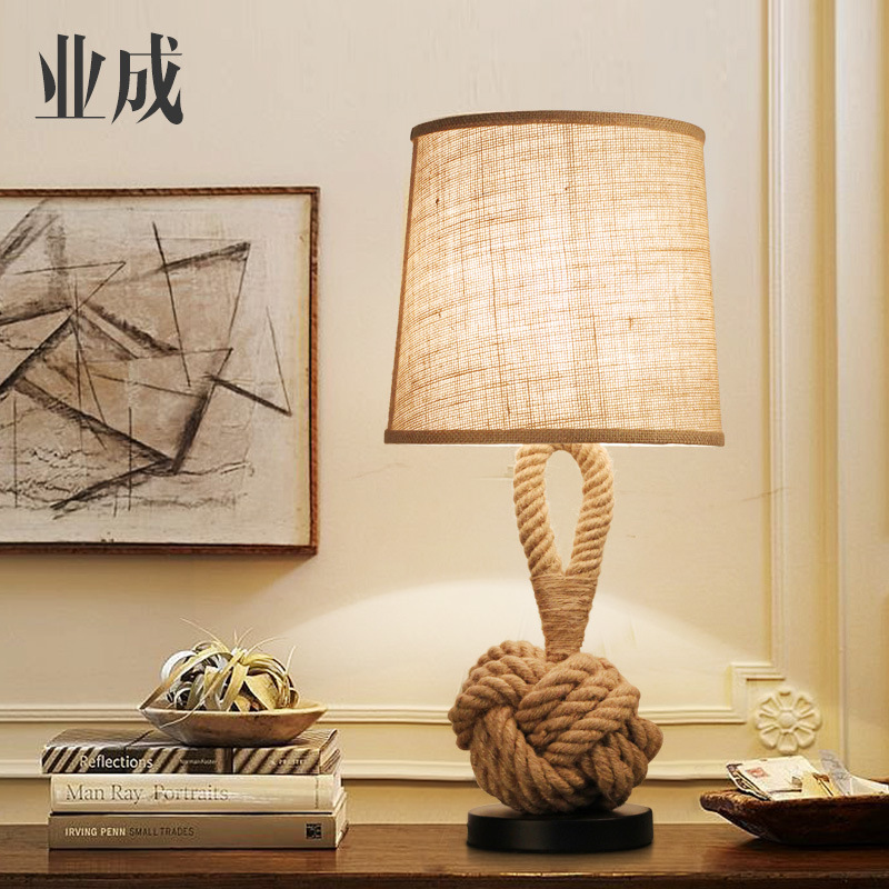 TUDA American Retro Style Vintage Hemp Rope Table Lamp Bedroom Bedside Led Living Room Lamp Study Japanese Style Cloth Rope LampTUDA American Retro Style Vintage Hemp Rope Table Lamp Bedroom Bedside Led Living Room Lamp Study Japanese Style Cloth Rope Lamp