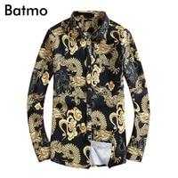 Batmo 2018 new arrival spring high quality print dragon casual men's shirt,turn down collar casual shirt men size M to 5XL 18105