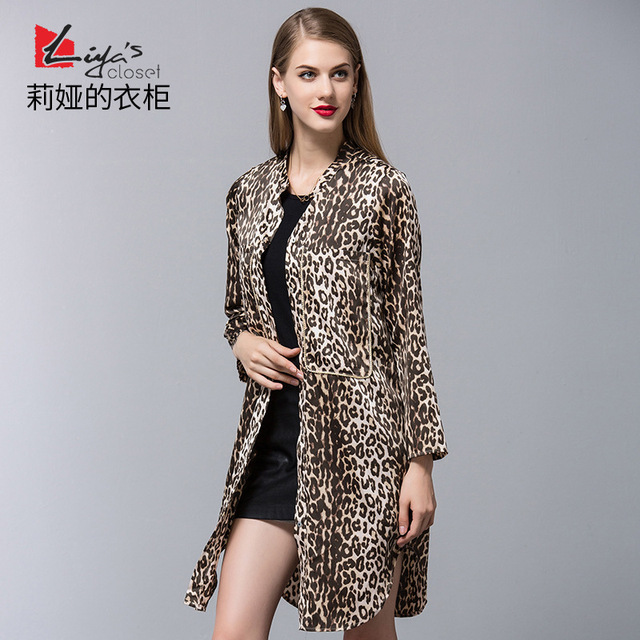 Горячие Продаж женская Мода Пальто Зима 2016 Новое Прибытие Долго Леопардовым Принтом женские Зимние Пальто F341
