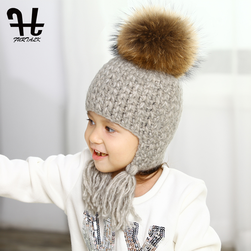 FURTALK children winter wool earflap hat for girls and boys real fur pom pom baby hats for kids Age 2-10 the new children s cubs hat qiu dong with cartoon animals knitting wool cap and pile