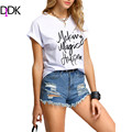 DIDK Ladies T shirts Short Sleeves New Summer 2016 Clothing Woman White Round Neck Letters Print Cuffed Casual T-shirt
