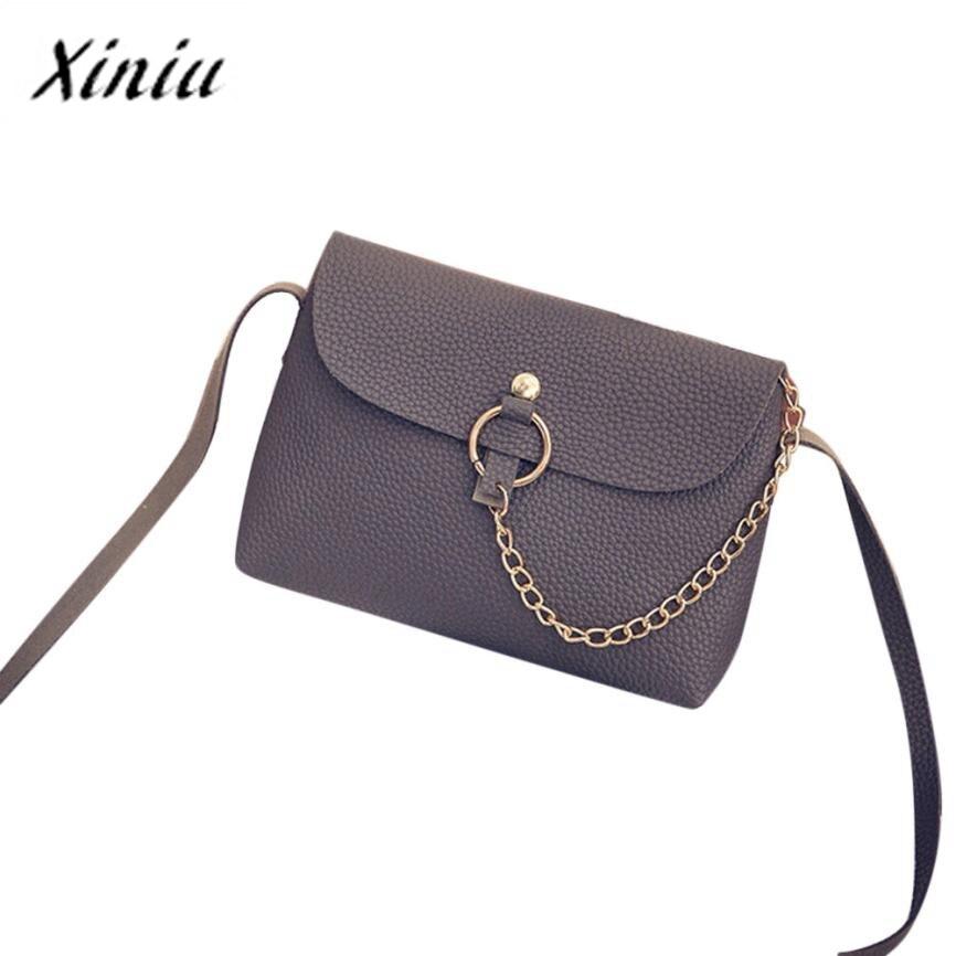 Xiniu Leather Bags Women PU Litchi Stria Handbag Chain Strap Buckle Lock Women Shoulder Bags Bolsos Mujer super quality feminina