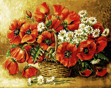 Red Flower Painting By Numbers Frameless DIY Canvas Oil Painting