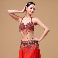 2016 Oriental Women Belly Dance Clothes Eastern Style Beaded Top And Belt 2pcs Set Beaded Costumes