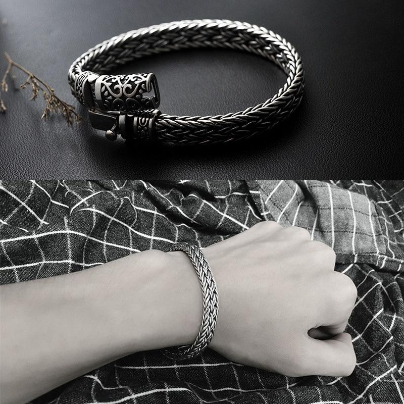 GAGAFEEL, 100%, 925, серебряные браслеты, ширина 8 мм, классический провод кабель, звено цепи, S925, тайские серебряные браслеты для женщин, мужчин, ювелирное изделие, подарок - 6