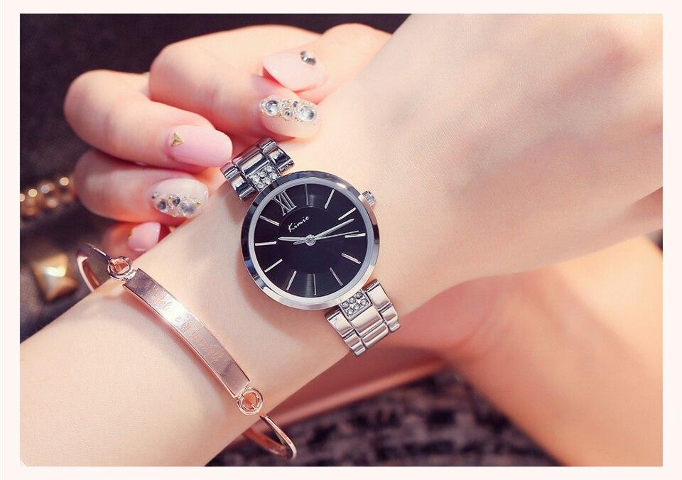 KIMIO Thin Clock Women Fashion Simple Watches Rhinestones Dress Woman Watch Rose Gold Quartz Ladies Women's Watch Wristwatch 19