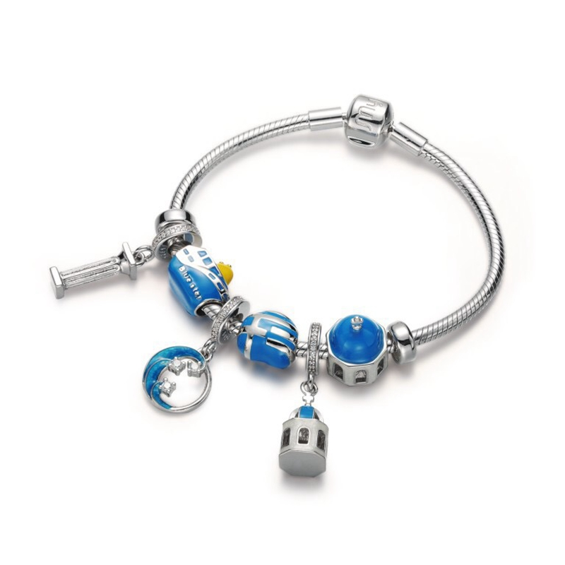 925 sterling silver International City Tour Series DIT bracelets Santorini Scenes design fashion bracel for women jewelry gift