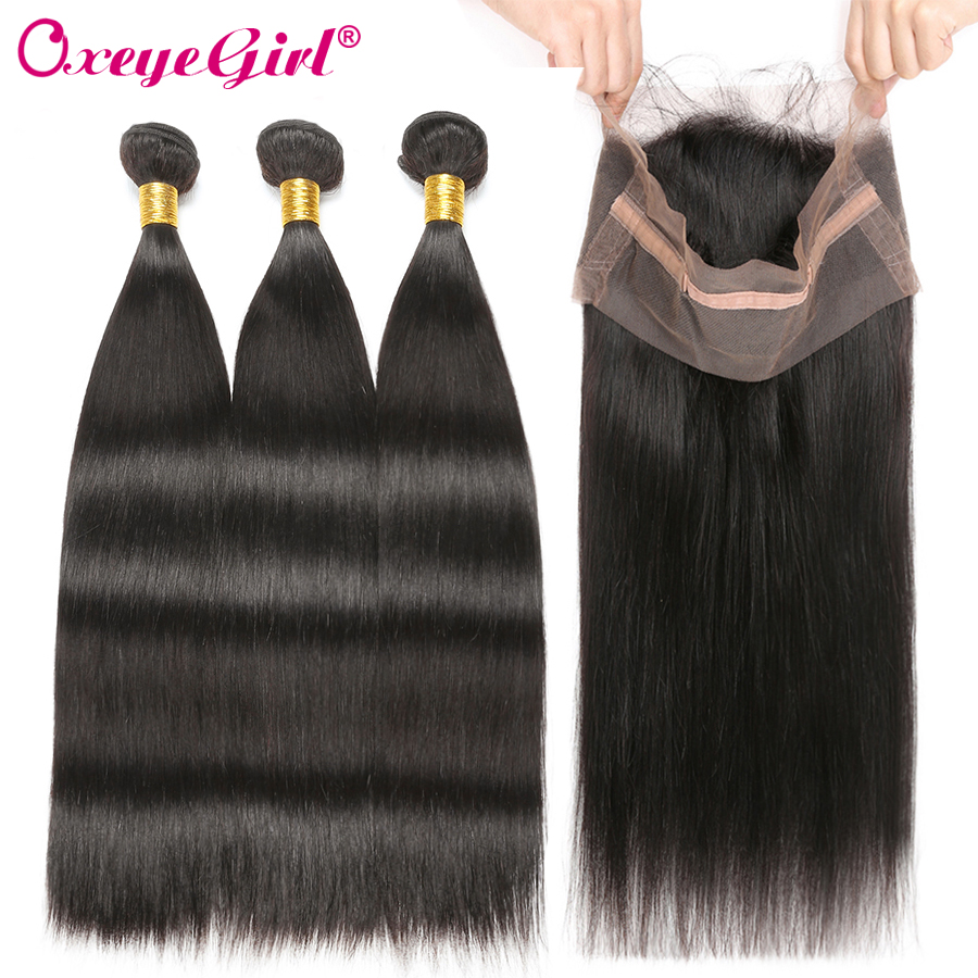 360 Frontal With Bundles Malaysian Straight Hair Human Hair Bundles With Frontal 360 Lace Frontal With