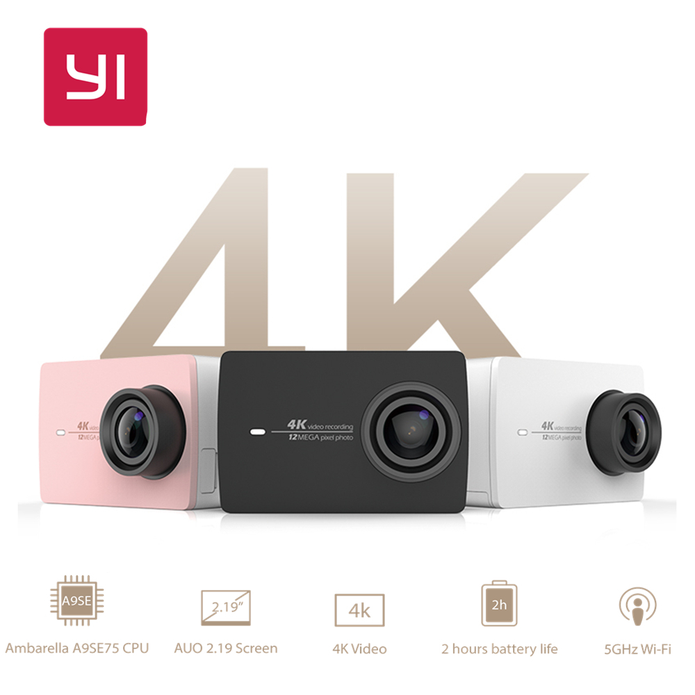 YI 4K Action Camera International Edition Ambarella A9SE Cortex-A9 ARM 12MP CMOS 2.19 155 Degree EIS LDC yi 4k action camera black 2 19lcd screen 155 degree eis wifi international edition ambarella a9se75 12mp cmos 5ghz wi fi