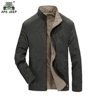 2017 New DashionMens Double Jacket Men Outwear Casual Jacket AFS JEEP Brand Stand Collar Jacket Hot