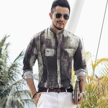 Plus Size 4XL Tunic Mens shirt Solid linen Basic Button Casual Linen Cotton Long Sleeve V neck shirts men Summer 2019 top S850 2
