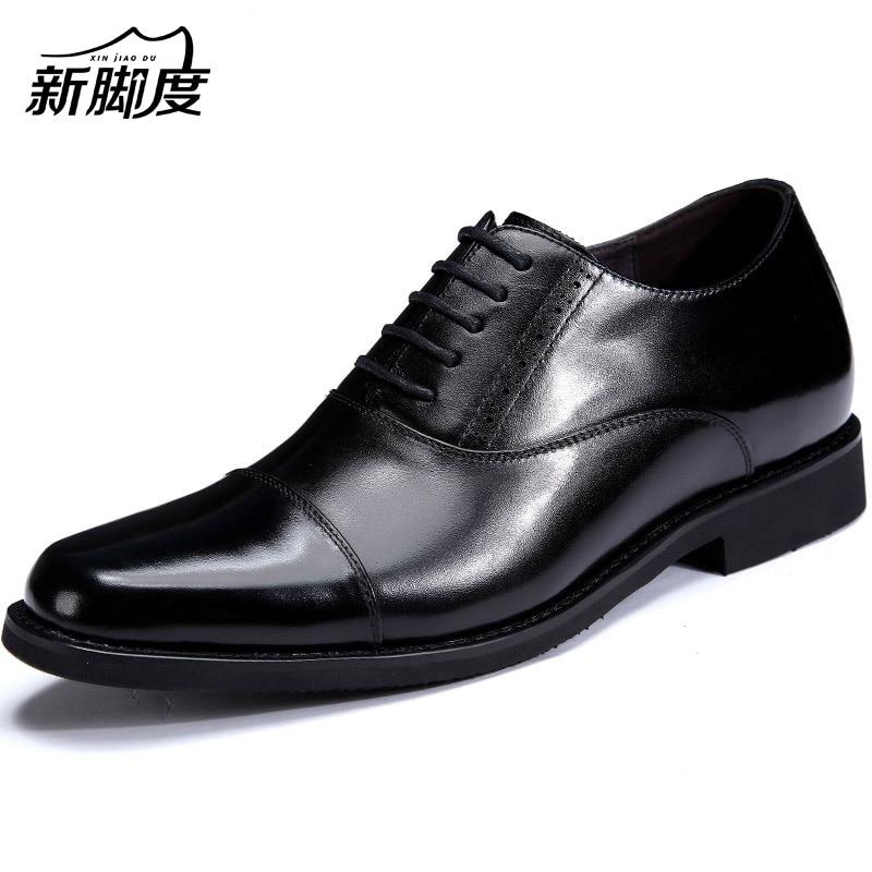 Musta / ruskea Miesten Oxford-kengät Nahkainen korkeus kasvaa 7cm näkymätön hissimuotoinen mekko kengät hääjuhlille