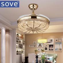 42 дюймов Золото Современные светодиодные выдвижной Потолочные вентиляторы с подсветкой Гостиная украшения дома складной потолочный вентилятор лампы 220 вольт