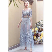 3D lace fabric with flowers, bridal blue for haute couture dress, mesh SDF025