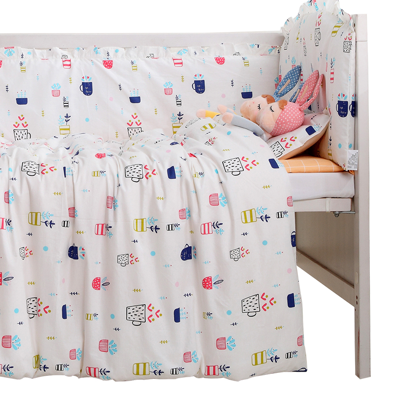 7PCS full Set Cot Baby Bedding Set 100% Cotton Pink Cloud Pattern Crib Bed Liner Baby Bed Set,(4bumper+sheet+duvet +pillow) promotion 6pcs baby bedding set cot crib bedding set baby bed baby cot sets include 4bumpers sheet pillow