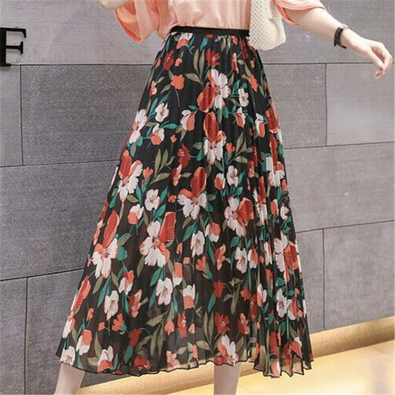 Ladies' High Waisted Skirt New Floral Printed Summer Loose A-line Underskirt Fashion Female Elastic Boho Long Skirts Hot Selling