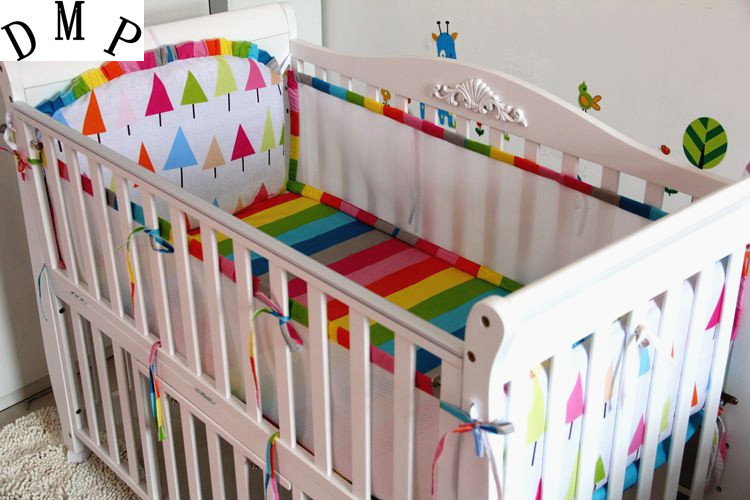 Promotion! 5PCS Baby Bedding Sets Cotton Cartoon Wan Design Crib Bed Bumpers Set baby bumper ,include:(bumper+sheet)