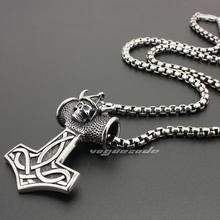 Thor`s Hammer Pendant 316L Stainless Steel Mens Biker Rocker Punk Viking Norse Warrior Jewellery 6K001 Steel Necklace 24 inches(China)