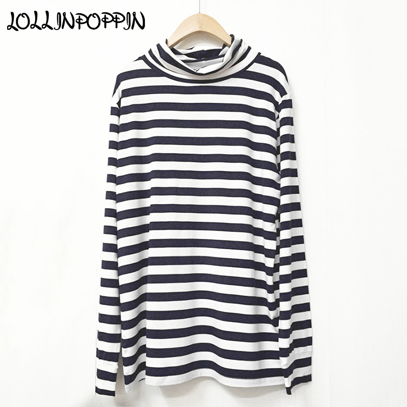 KPOP Same Style Navy Blue And White Stripe Turtleneck Long Sleeve T Shirt GD High Neck Long Sleeved Tee Shirts
