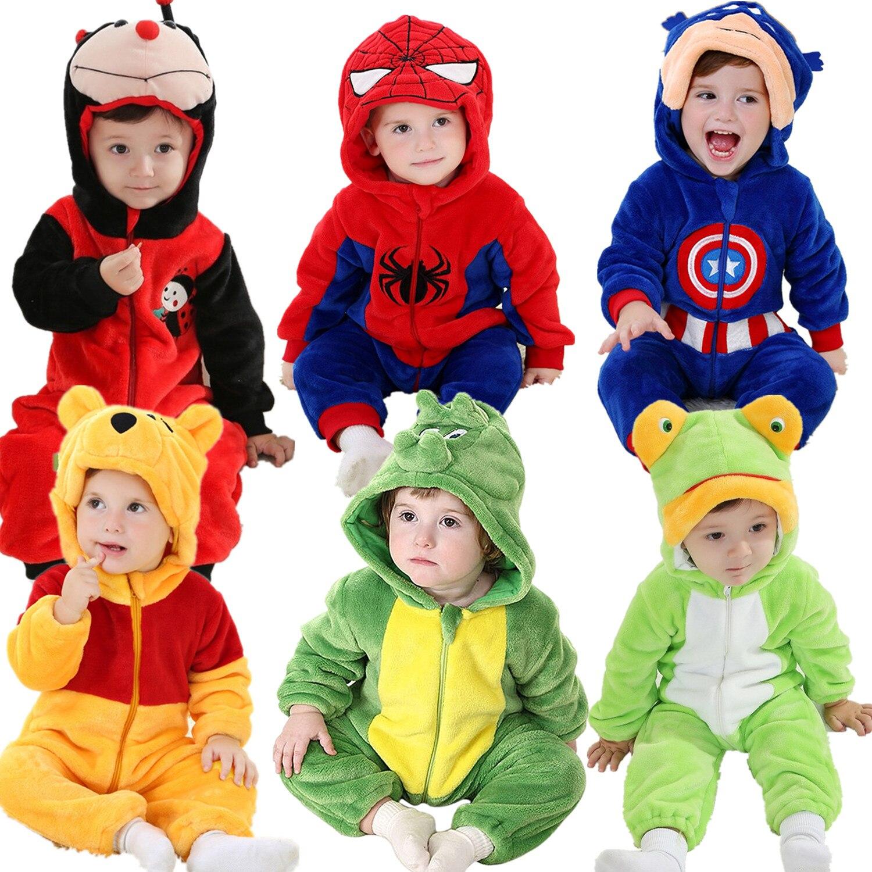 Androktones Zimní Zvířata Kids Oblečení Fleece Romper Set Baby Boys Dívky Jumpsuits Overalls Cosplay Halloween Vánoční kostýmy