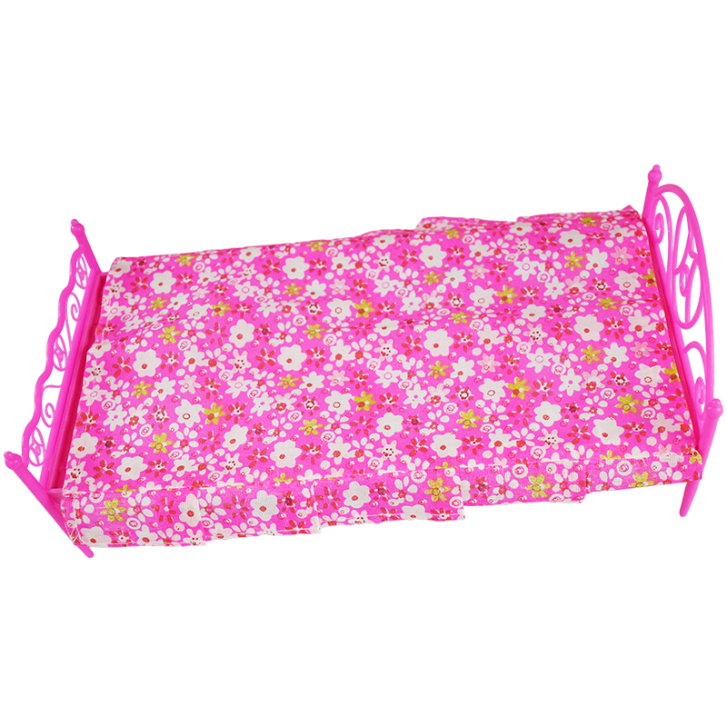 1 Set 3 Items Barbie Dolls Bed Furniture ( Bed+Pillow+Bed Sheet) Doll Accessories For Barbie Doll Play House Girl Gift Kid Toys