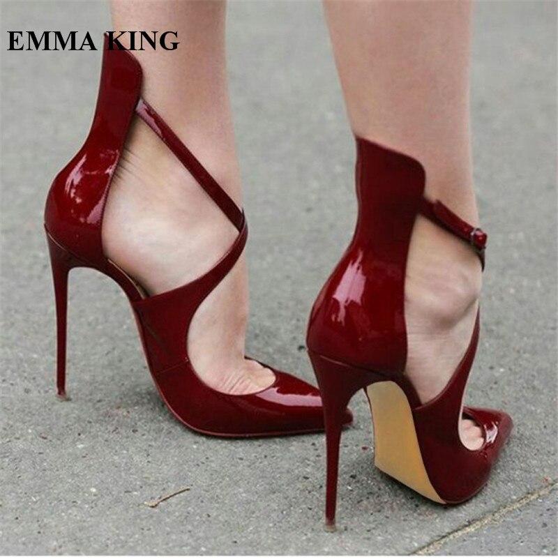 EMMA KING 2018 Top vente Zapatos De Mujer pompes Pu vin rouge talons hauts pompes boucle croisé soirée robe chaussures femmes