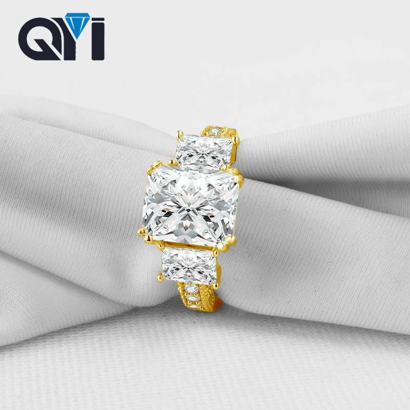 QYI Rectangle Cut 10K Solid Yellow Gold Luxurious Rings For Women Wedding Engagement Band Classic Jewelry Gifts